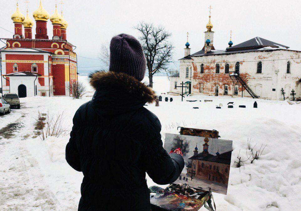 Работа художника о монастыре
